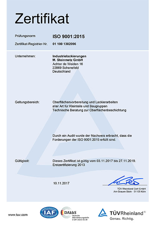 Zertifikat - Steinmetz Industrierlackierung